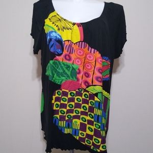 Taillissime Tropical Fruit Deco Print Top